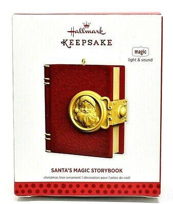 RARE NEW 2013 HALLMARK SANTA'S MAGIC STORYBOOK w LIGHT SOUND CHRISTMAS ORNAMENT