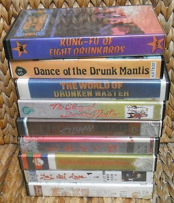 Lot of 9 vintage DRUNKEN KUNG-FU Movies VHS Tapes + EXTRA!