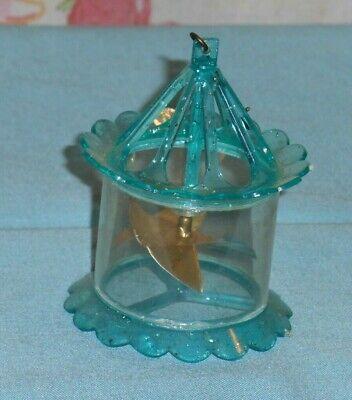 vintage Christmas BLUE BIRDCAGE SPINNER ORNAMENT twinkler - Christmas Ornament Spinners