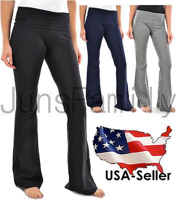 Womens Foldover Yoga Gym Athletic Fitness Soft Comfy Stretch High Waist Pants