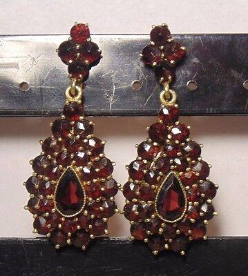Victorian Germany GARNET Cluster 14k Yellow Gold Screw Back Dangle Earrings BIG