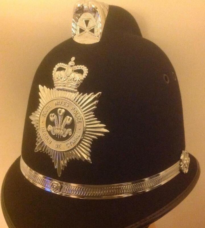Obsolete British BOBBY Coxcombe  helmet SOUTH WALES POLICE