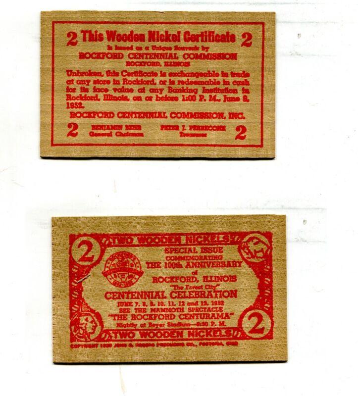 ROCKFORD ILLINOIS CENTURAMA WOODEN NICKEL 1932 966M