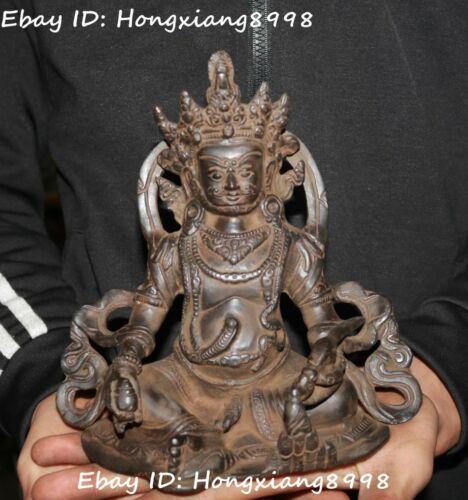 Old Tibet Buddhism Bronze Snake Yellow Jambhala Wealth God Buddha Statue