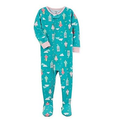 CARTER'S TODDLER GIRL PRINCESS CASTLE FOOTED BLANKET SLEEPER PAJAMAS 2T 5T