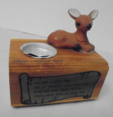 Bank  Glacier National Park  Wood Box  Ceramic Fawn  4  Tall 4  Across Vintage
