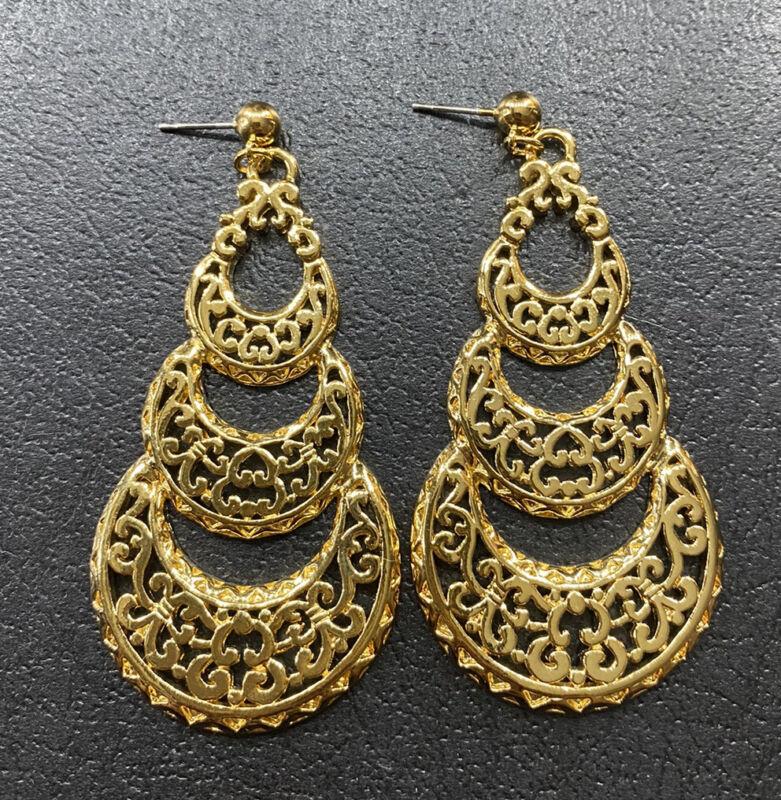 """Vtg Avon 3"""" Spanish Moon Dangle Earrings Gold Tone Filigree Pierced Statement"""
