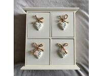 Shabby Chic Wooden Heart Decorative Bedside/Desk Drawers