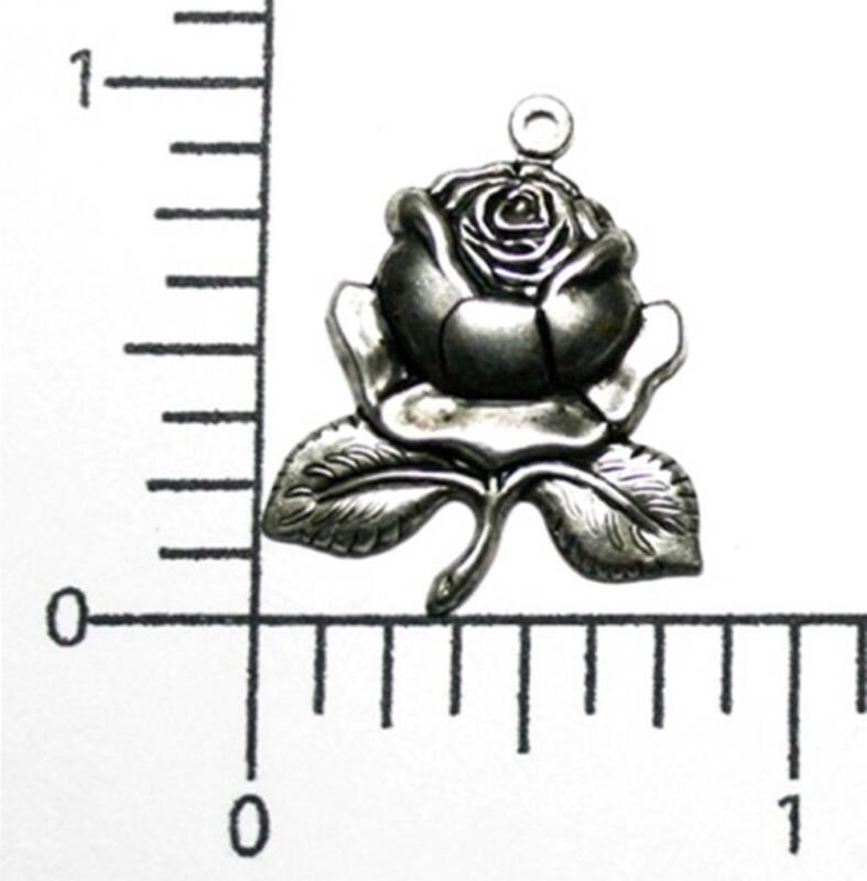 30324       3 Pc Matte Silver Oxidized Rose Charm Jewelry Finding