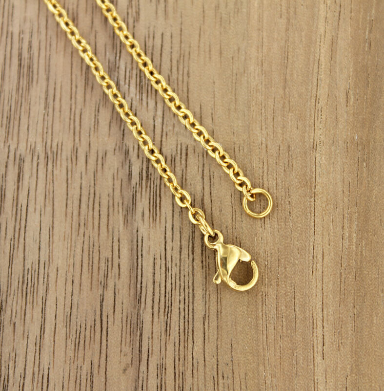 "Gold Stainless Steel Cable Chain Necklace 22"" - 2mm - 1 Necklace - N535"
