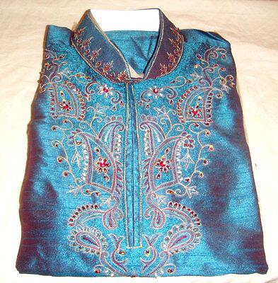 Designer Exclusive Formal silk Mens Kurta salwar w matching shawl Embroidery  Designer Mens Kurta