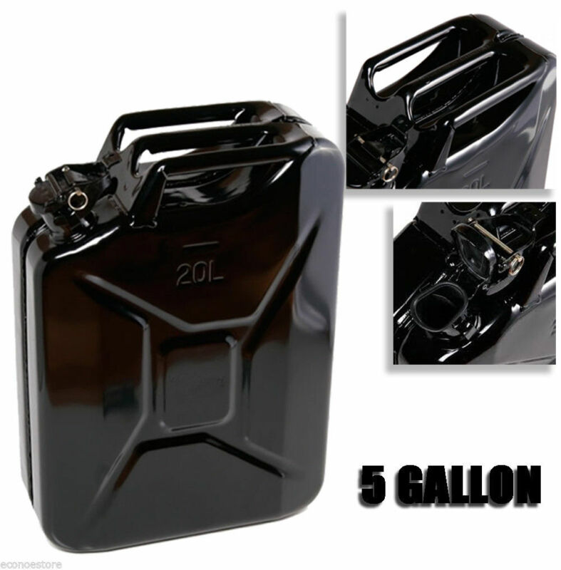Black 5 Gallon Jerry Can Gas Fuel Steel Tank Military NATO Style 20L Storage Can