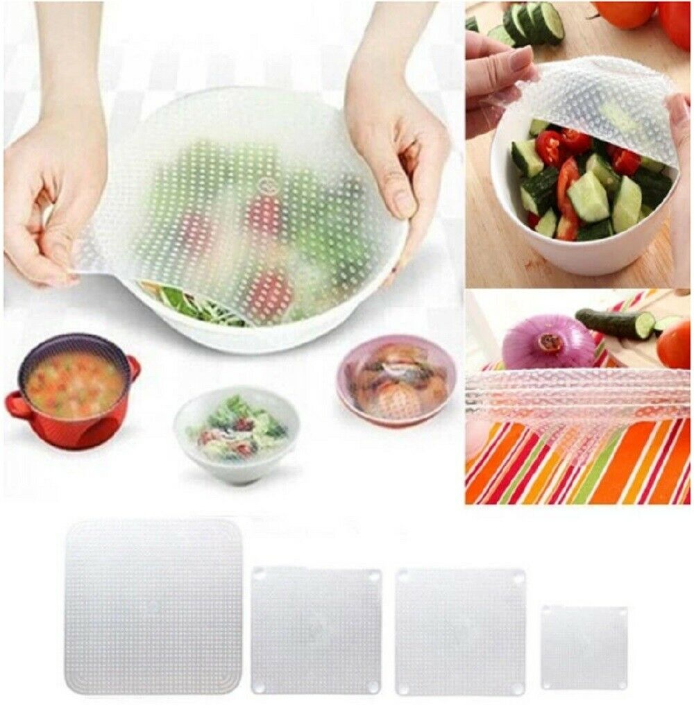 4 Pack Silicone Plastic Wrap Seal Vacuum Food Fresh Magic Wrap Kitchen Gadget US Home & Garden
