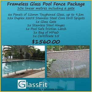 Frameless Glass Pool Fence Package - 10m Inc Gate - Awesome Value Yatala Gold Coast North Preview
