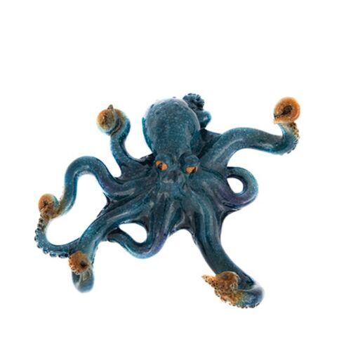 Nauti Blue Octopus Wall Hook Polystone Hats towels clothes jackets