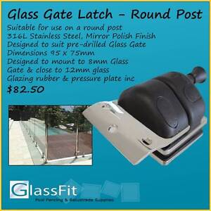 Glass Gate Latch - Glass Pool Fencing - Close onto Round Post Yatala Gold Coast North Preview