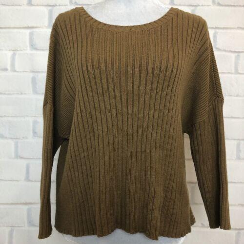 CAbi 3364 Luna Sweater Size M Mustard Brown Boxy Ribbed