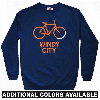 Bike Windy City Sweatshirt - Chicago Cyclist Biking USA Crewneck - Men S to 3XL (Usa Windy City)