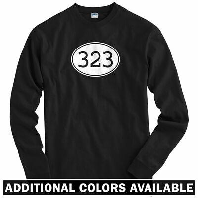 Area Code 323 Long Sleeve T-shirt - LS Men S-4X - East Los Angeles South Gate LA Area Long Sleeve T-shirts
