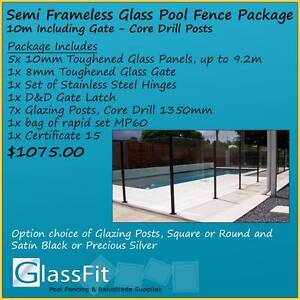 Semi-Frameless Glass Pool Fence Package - 10m Inc Gate Yatala Gold Coast North Preview