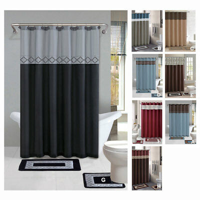 Geometic Helix Swirls Shower Curtain with Hooks Bathroom Rug Set 15 Piece Set