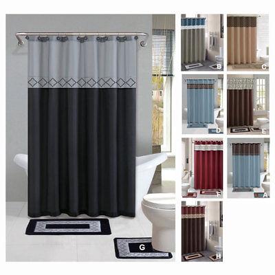 Contemporary Bath Shower Curtain 15 Pcs Modern Bathroom Rug