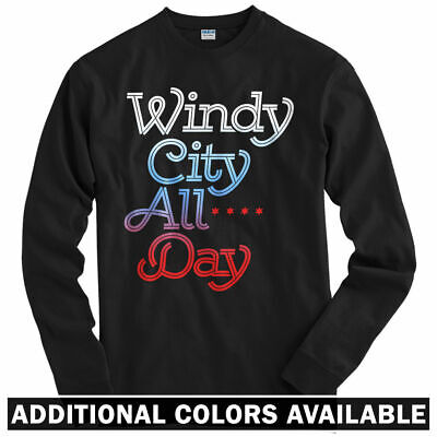 Windy City All Day Long Sleeve T-shirt - Chicago Hip Hop USA - LS - Men / Youth (Usa Windy City)