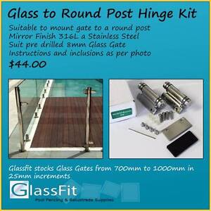 Glass to Round Post Hinge Kit - Glass Pool Fencing Yatala Gold Coast North Preview