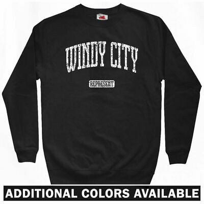 Windy City Represent Sweatshirt - Chi-Town Midwest USA Crewneck - Men S to 3XL (Usa Windy City)