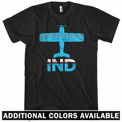 Ind Pilot (Fly Indianapolis IND Airport T-shirt  Men S-4X - Plane Airplane Indiana Pilot IN)