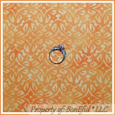 BonEful FABRIC FQ Cotton Quilt Orange Yellow Print Pattern S Flower Damask Toile - Orange Toile Fabric