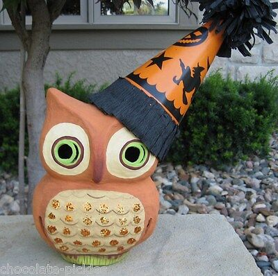 Bethany Lowe Paper Mache OWL*Witch Party Hat*Primitive Halloween Decor*Retired*