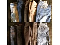 Women's jeans 10 pairs joblot Bundle 12-14 skinny straight leg blue grey black
