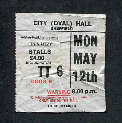 Original 1980 Thin Lizzy Concert Ticket Stub Sheffield UK Boys Are Back In Town