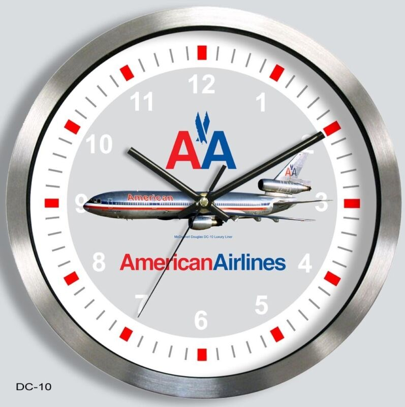 AMERICAN AIRLINES McDONNELL-DOUGLAS DC-10 WALL CLOCK METAL DC10 70