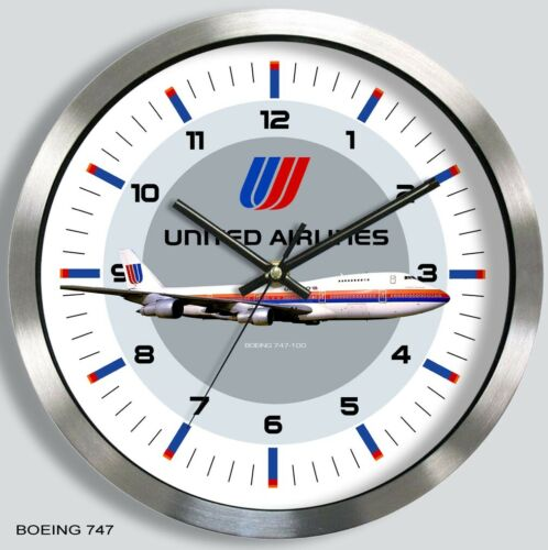 UNITED AIRLINES BOEING 747 WALL CLOCK METAL 1970s 80s