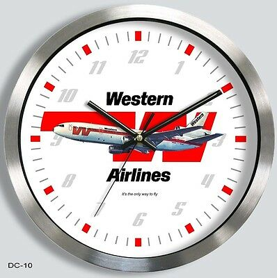 WESTERN AIRLINES McDONNELL-DOUGLAS DC-10 WALL CLOCK METAL 1970s md10 md11