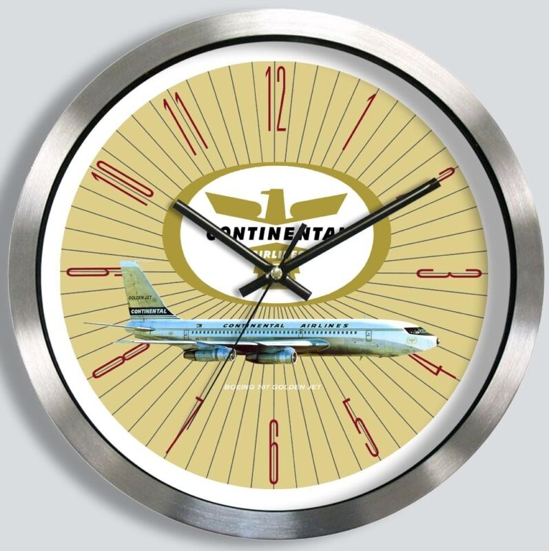 CONTINENTAL AIRLINES BOEING 707 WALL CLOCK METAL 1960