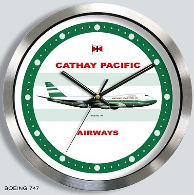 CATHAY PACIFIC AIRWAYS BOEING 747 WALL CLOCK METAL 1970's 1980's