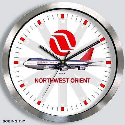 NORTHWEST AIRLINES BOEING 747 WALL CLOCK  METAL 1970s 1980s northwest orient