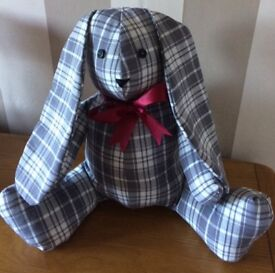 Handmade soft toy. Rabbit, Teddy, Dog all conform to BSS. Made with care and love