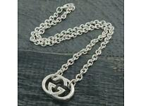 Gucci pendant chain necklace mens womans unisex sterling silver 925 original mint with box