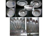 good for student tableware - fruit bowl, plates, cutlery, knife sharpener