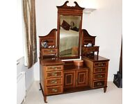 EDWARDIAN SHERATON ANTIQUE DRESSING TABLE CHEST OF DRAWERS MIRROR BEDROOM