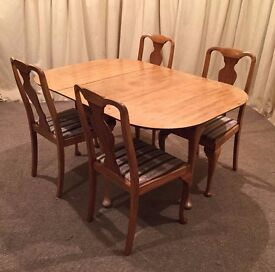 Table & 4 Chairs - Light Oak Drop Leaf Table - 4 Queen Anne Chairs