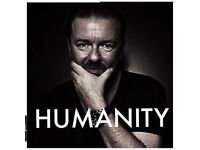 2 x Ricky Gervais Humanity tickets TONIGHT Nottingham Motorpoint Arena