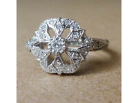 Art Deco Design Diamond White Gold Ring Size J very unusual floral design