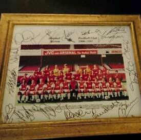 96-97 sqaud Signed framed Arsenal team photo with Coa