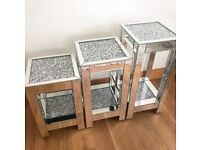 3 SIZES SQUARE MIRRORED CRUSHED DIAMOND SIDE TABLES SPARKLE CRYSTAL MODERN