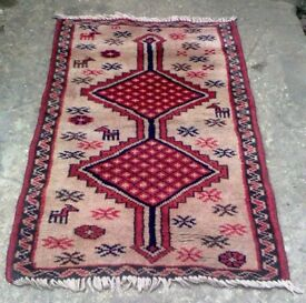 A TRIBAL, HAND KNOTTED, BOKHARA THICK PILE WOOL RUG